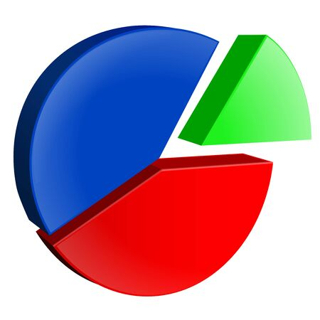 Pie chart. Colored diagram. Vector 3d illustration isolated on white background Vektorové ilustrace