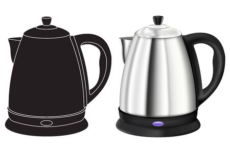 Kettle. 3d model and black outline icon. Vector illustration isolated on white background
