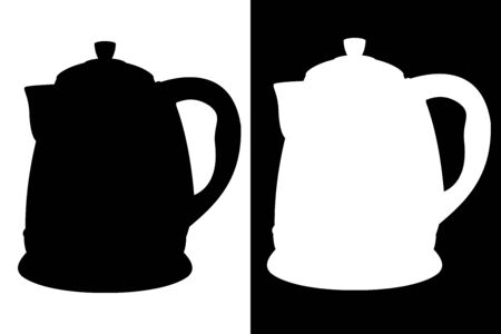 Kettle icon. Black and white silhouettes. Vector illustration