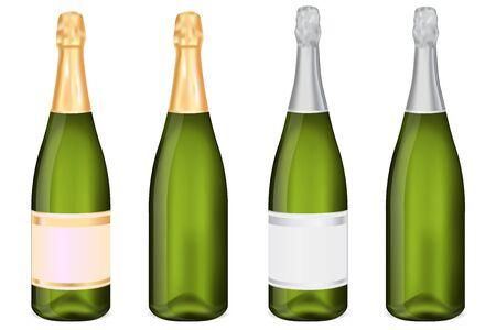 Green bottles of sparkling wine. Vector 3d illustration on white background Çizim