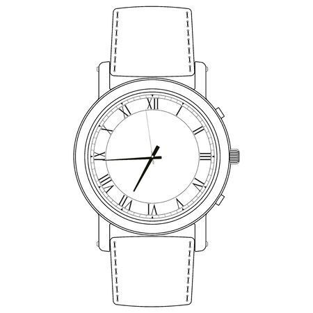Wrist watch. White outline icon. Vector illustration isolated on white background