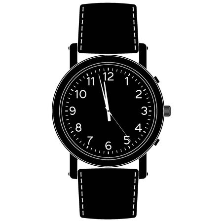 Wrist watch. Black outline icon. Vector illustration isolated on white background