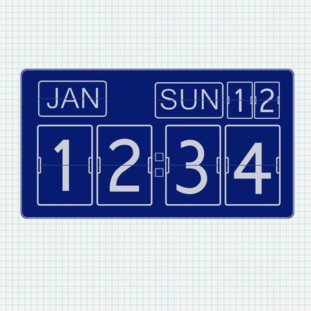 Flip clock. Icon on Notebook sheet background. Vector illustration Çizim