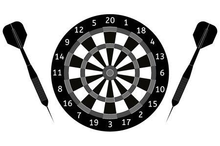 Darts Black icon. Vector Illustration isolated on white background