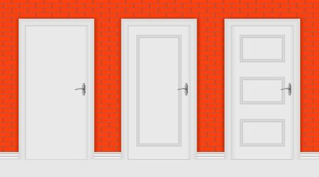 White interior doors on red brick wall background. Vector illustration