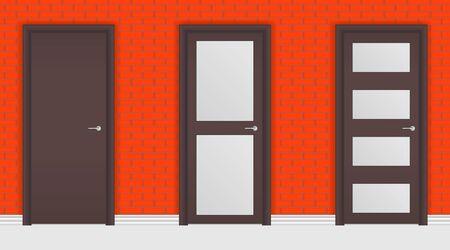 Brown interior doors on red brick wall background. Vector illustration Çizim