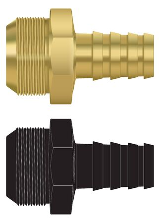 Hose pipe connectors and black drawing. Vector illustration isolated on white background