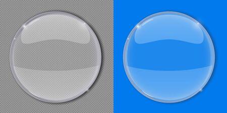 White glass transaparent lens. Vector 3d illustration