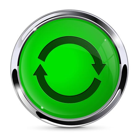 Green push button with refresh sign. Round web icon. Vector 3d illustration isolated on white background