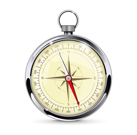 Navigation compass. Gauge with metal frame. Vector 3d illustration isolated on white background