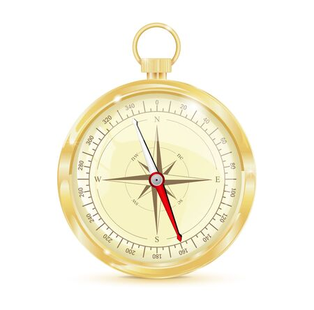Golden cnavigation compass. Vector 3d illustration isolated on white background
