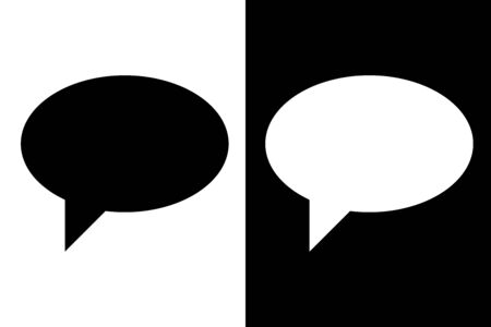 Speech bubble. Black and white silhouette icons. Vector illustration