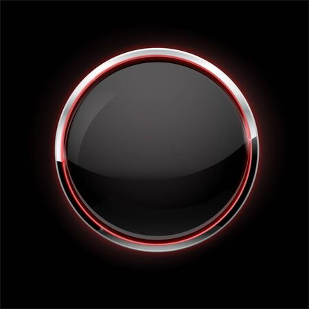Black button with chrome frame. Glass button with red glow on black background. Vector 3d illustration
