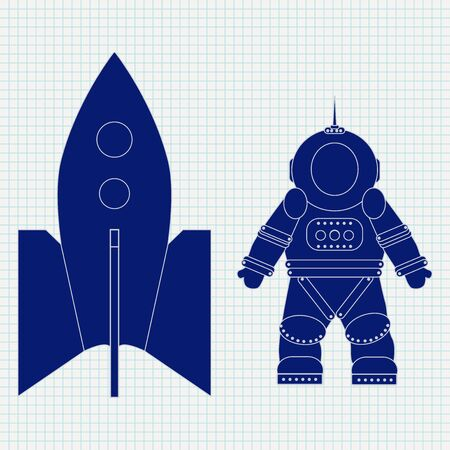 Astronaut and spaceship. Blue icon on lined paper background. Vector illustration
