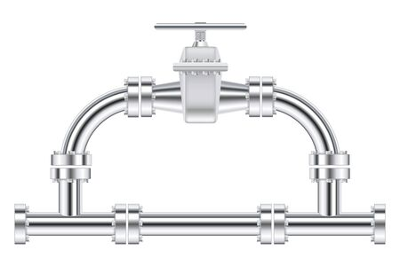 Metal chrome pipes with flange and water valve. Vector illustration isolated on white background