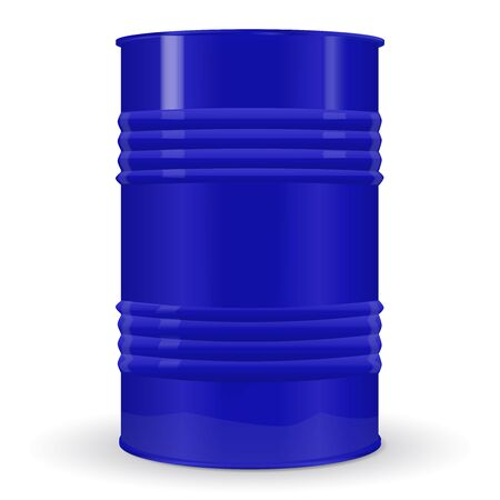 Blue metal barrel. Vector 3d illustration isolated on white background