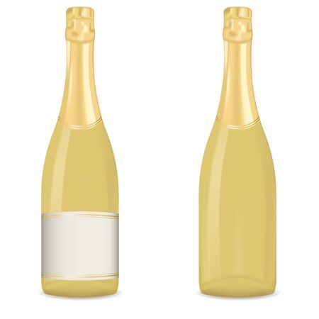 Bottle of sparkling wine. Golden bottles. Vector 3d illustration isolated on white background