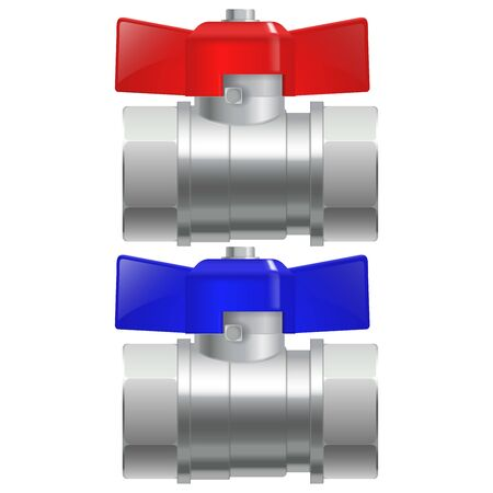 Metal chrome pipe connectors. Water taps