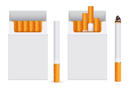 Pack of cigarettes. Vector 3d illustration isolated on white background Çizim