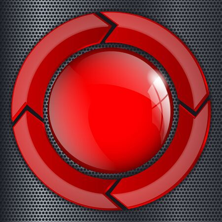 Red push button in metal perforated background. Vector 3d illustration