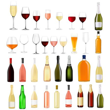 Alcohol drinks collection. Vector illustration isolated on white background