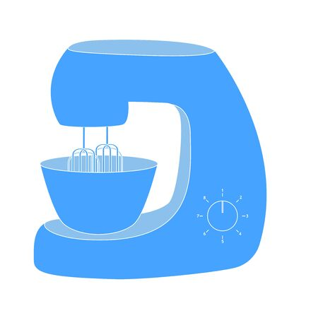 Mixer. Blue Kitchen icon. Vector Illustration isolated on white background. Illustration