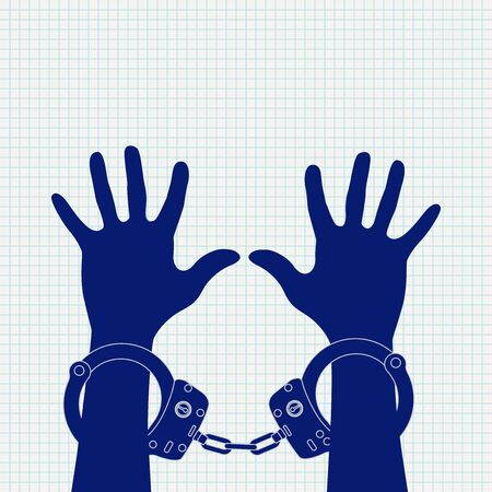 Hands in handcuffs. Icon on lined paper background. Vector illustration