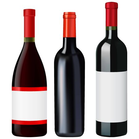 Red wine bottles. Vector 3d illustration isolated on white background