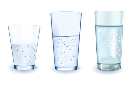 Glass of water. Vector 3d illustration isolated on white background