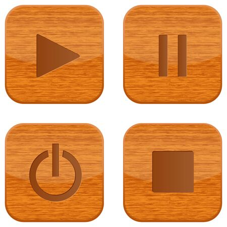 Media buttons - play, stop, pause, power. Wooden square shaped icons. Vector 3d illustration isolated on white background