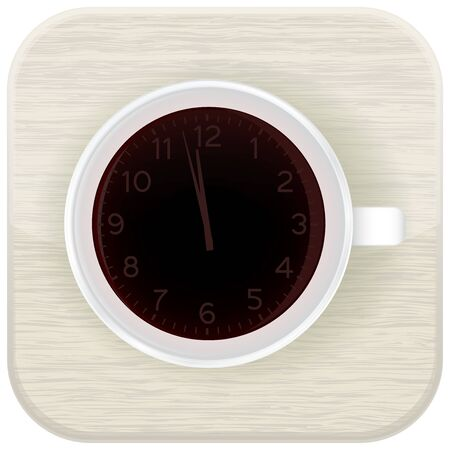 Clock as a cup of coffee. Vector illustration