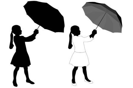 Child silhouette. Girl with umbrella. Vector illustration isolated on white background