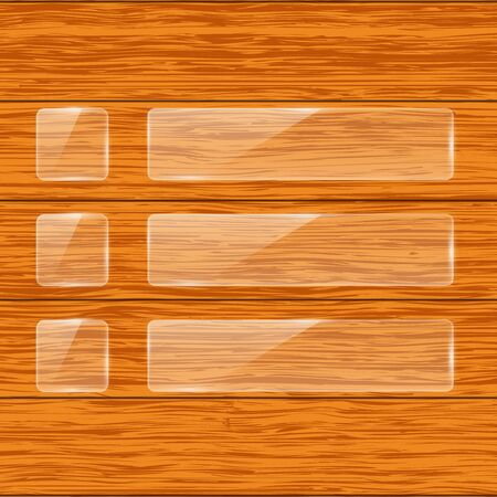 Transparent glass plates on wooden background. Vector 3d illustration