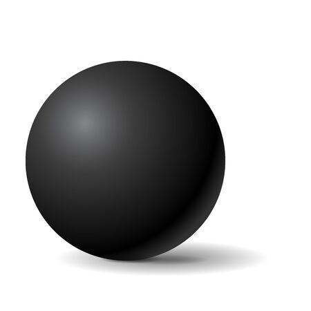 Black sphere. 3d geometric shape. Vector illustration isolated on white background