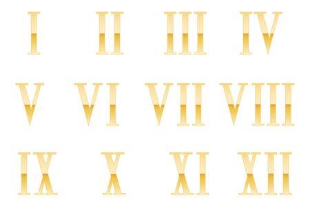 Roman numerals. Golden symbols. Vector illustration on white background