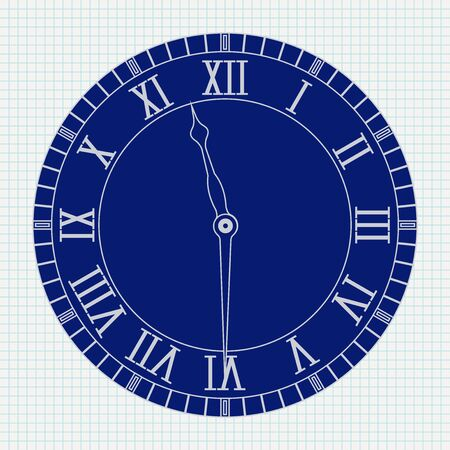 Roman numeral clock on lined paper background