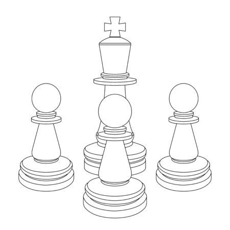 Chess pieces. King and pawns. Outline drawings