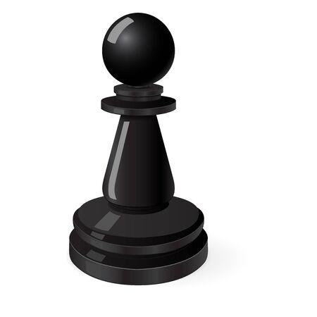 Black pawn. Chess piece 일러스트