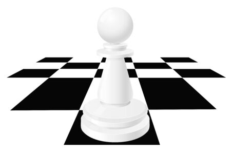 White pawn on chessboard. Chess piece. Vector illustration