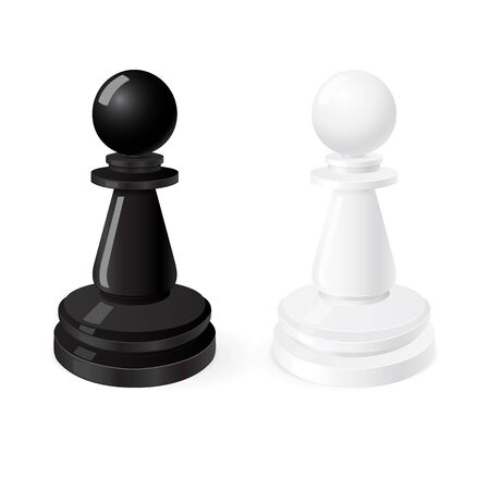 Pawns. Black and white chess pieces. Vector illustration isolated on white background 일러스트