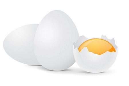 Chicken eggs. Vector 3d illustration isolated on white background Ilustração