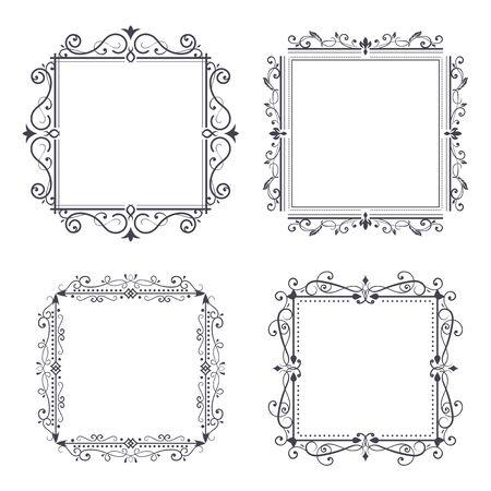 Vintage ornamental frames. Vector illustration isolated on white background Vettoriali