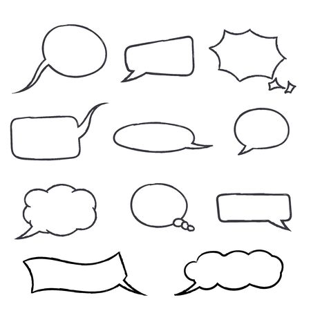 Speech bubbles. Hand drawn sketch. Vector illustration isolated on white background 일러스트