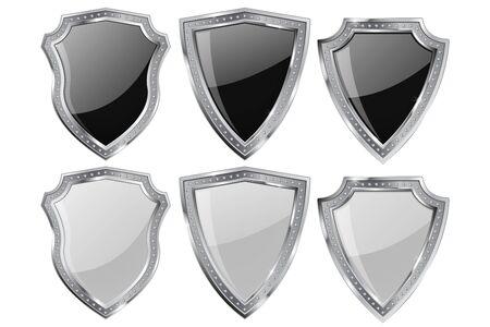 Metal Shield. Set white and black shiny plate