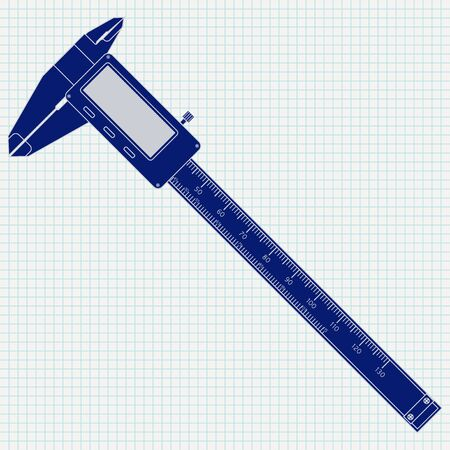 Calipers icon on lined paper background