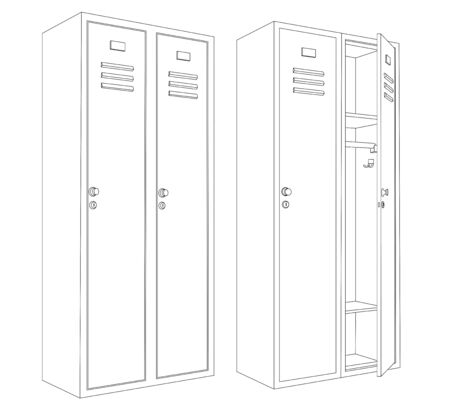 Lockers with one open and closed door. Outline drawing. Vector illustration isolated on white background