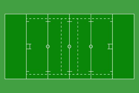 Rugby green field. Sports ground. Vector illustration