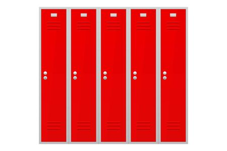 Red lockers section. Vector illustration isolated on white background