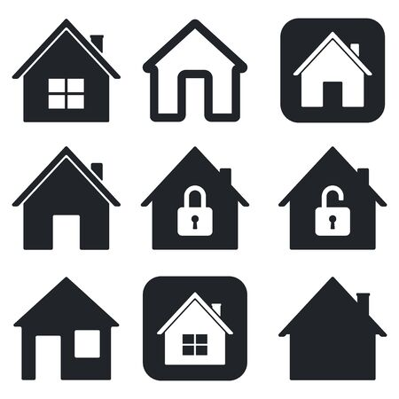 House icons set. Black collection of simple web signs. Vector illustration isolated on white background