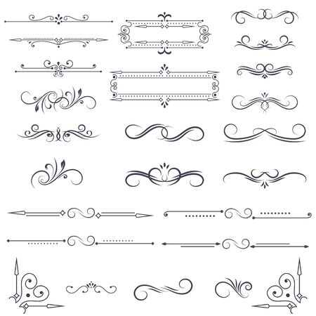 Vintage ornamental dividers and frames. Black floral decorations isolated on white background. Vector illustration